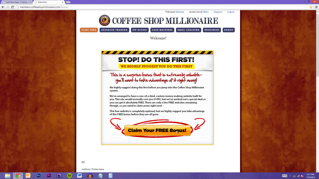 Your introduction to Coffee Shop Millionaire