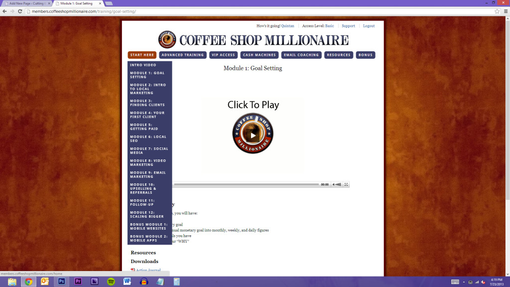 Coffee Shop Millionaire only has 14 modules