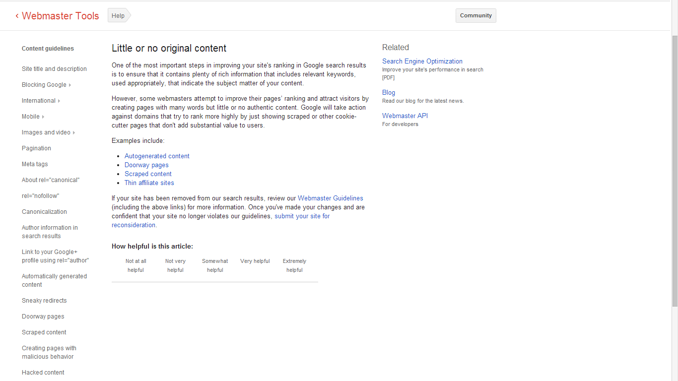 Google Penalty For Poor Content