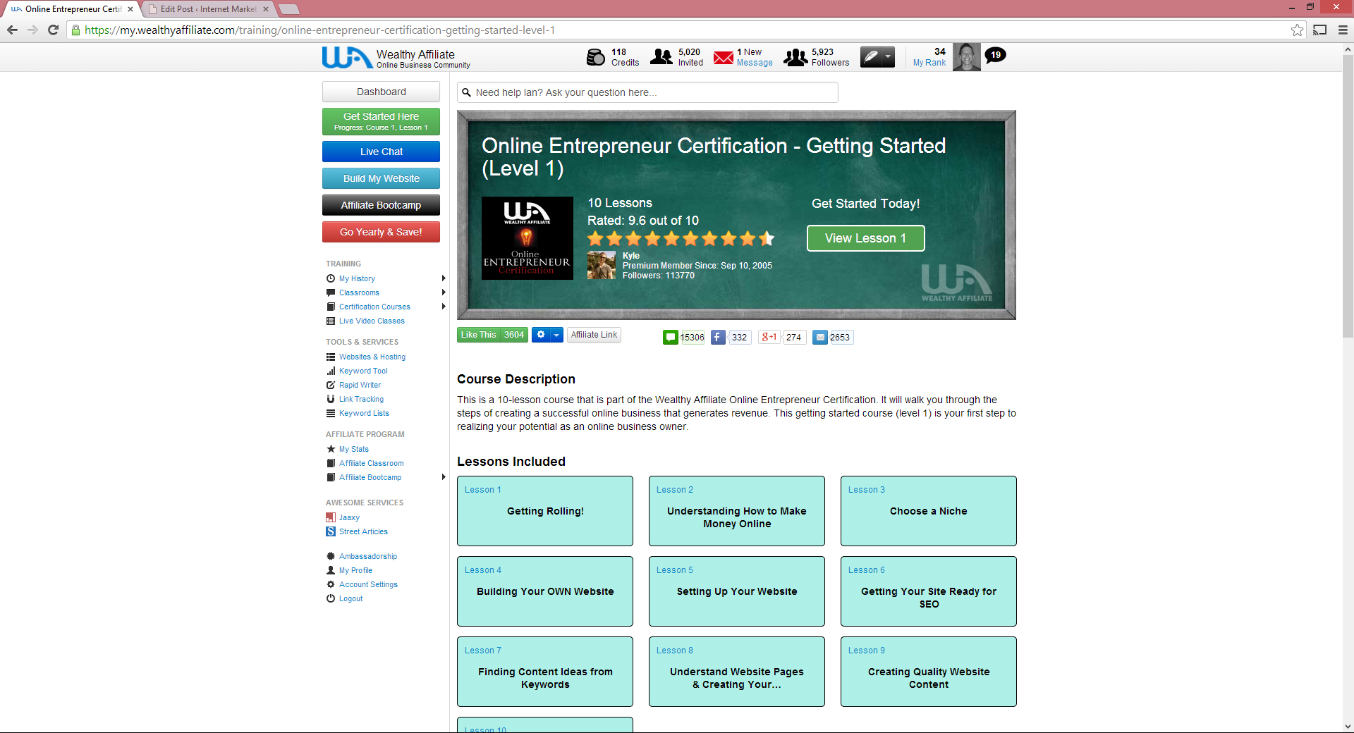 online entrepreneur certification level one at wealthy affiliate