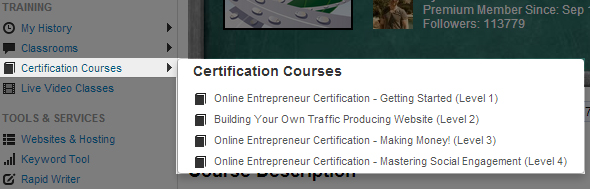 descriptions of levels 1-4 of wealthy affiliate's online entrepreneur certification