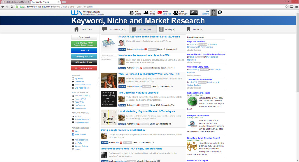 screenshot of niche and market research in wealthy affiliate