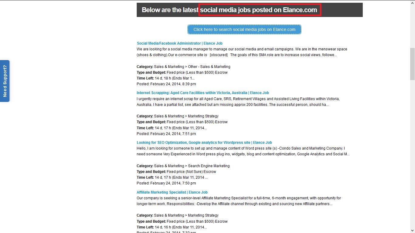 Elance Social Media Jobs