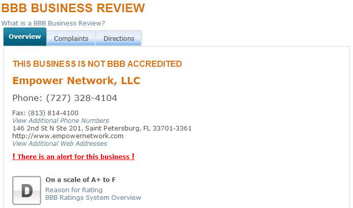 Empower Network is Not BBB Accredited
