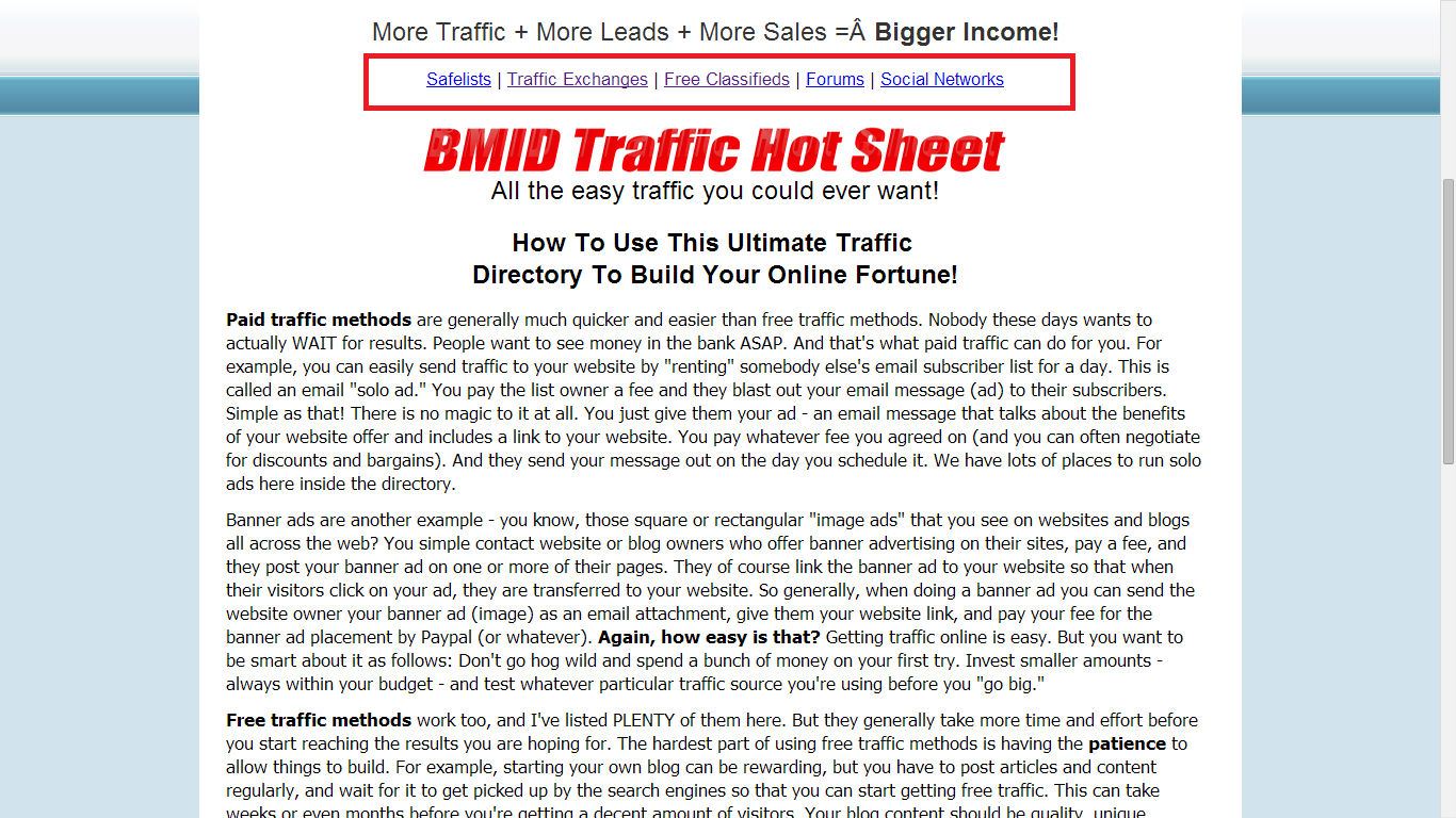 BMID Free Traffic Methods