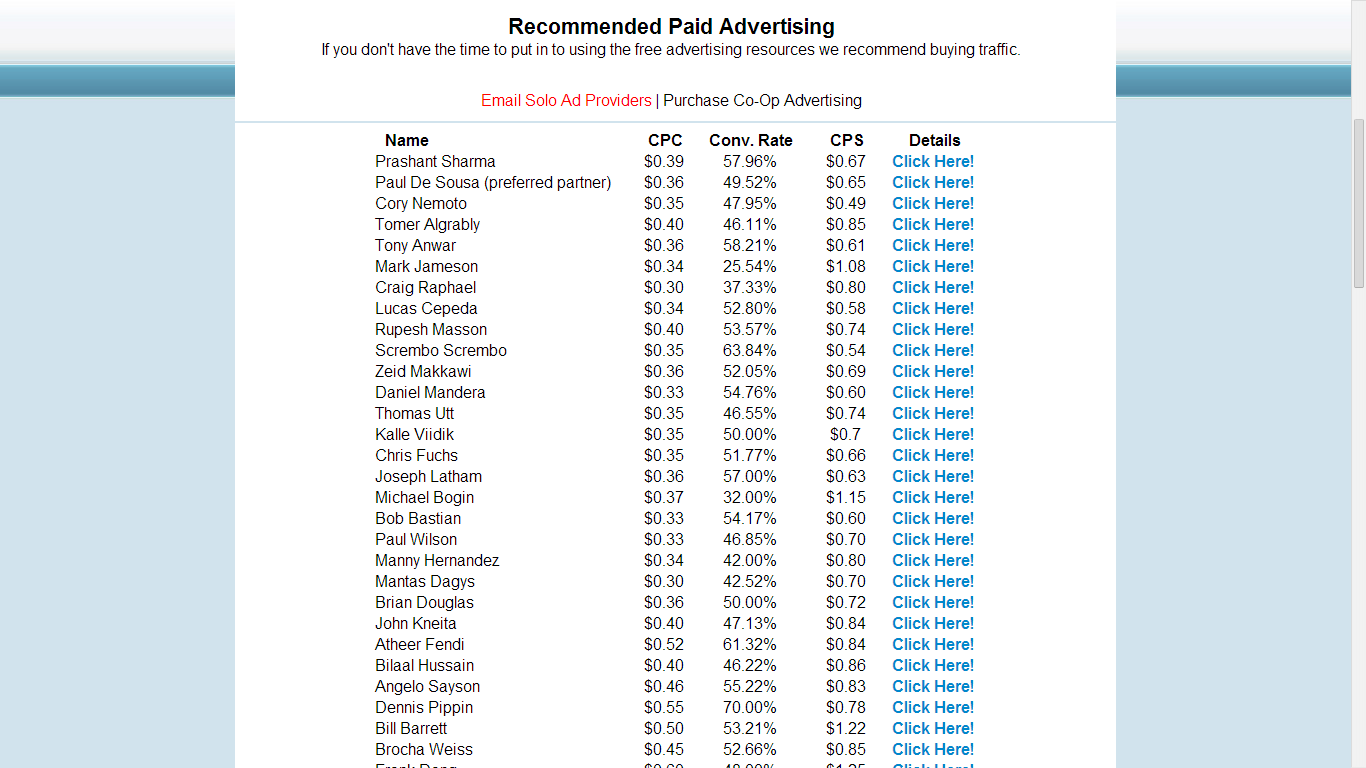 BMID Paid Advertising List