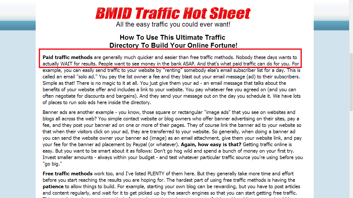 BMID Recommends Paid Traffic