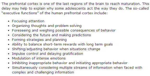 Executive Functions of the Prefrontal Cortex