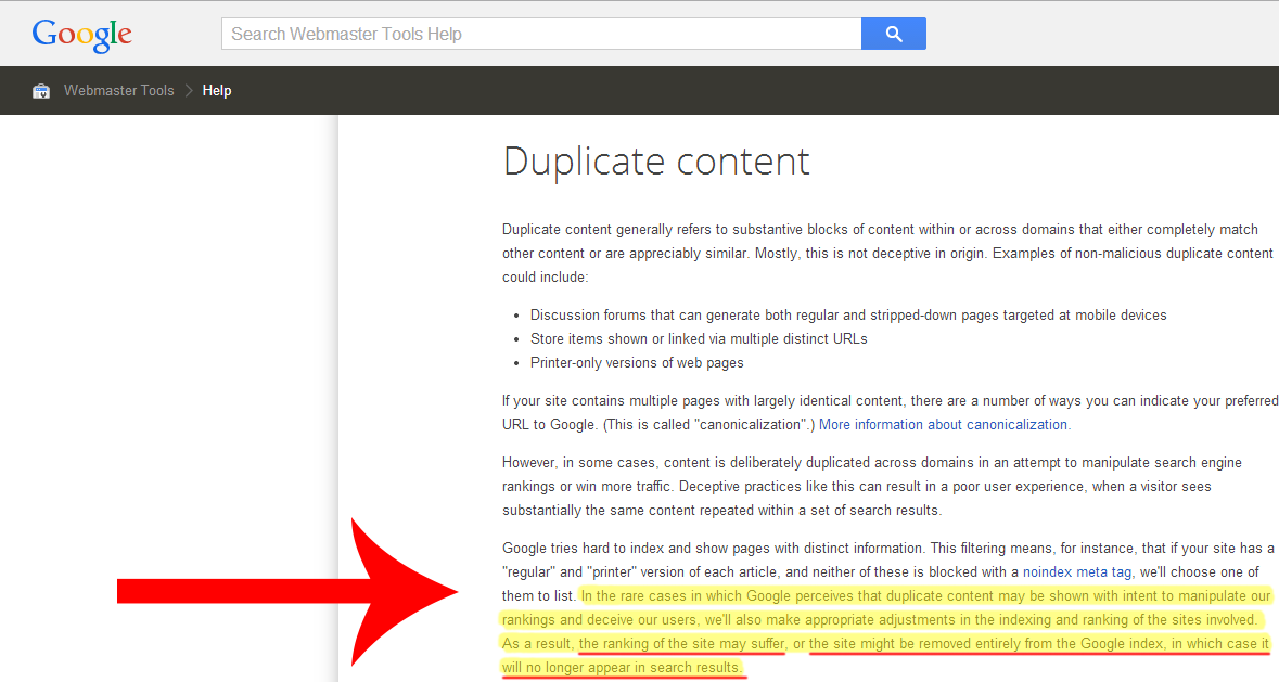 how google feels about duplicate content